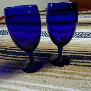 DARK BLUE WINE GLASSES SET OF 2